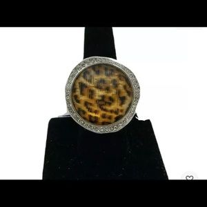 NWTS BRIGHTON LARGE DOME LEOPARD & SILVER RING